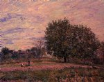 alfred sisley walnut trees sunset painting-37517