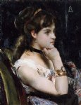 woman wearing a bracelet by alfred stevens painting