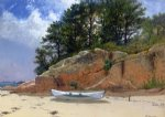 alfred thompson bricher dory on dana s beach manchester paintings-37112