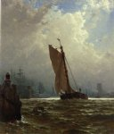 alfred thompson bricher new york harbor with the brooklyn bridge under construction painting