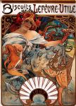 alphonse maria mucha watercolor paintings - biscuits lefevre utile by alphonse maria mucha