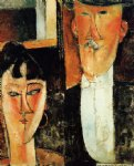 amedeo modigliani art - bride and groom by amedeo modigliani