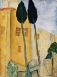 amedeo modigliani cypress trees and houses midday landscape painting