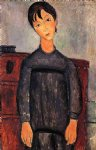 amedeo modigliani watercolor paintings - little girl in black apron by amedeo modigliani