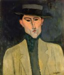 amedeo modigliani watercolor paintings - man witih hat by amedeo modigliani