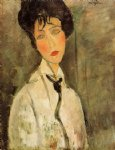 amedeo modigliani portrait of a woman in a black tie painting-36934