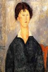 amedeo modigliani portrait of a woman with a white collar painting-36937