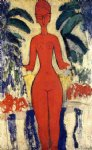 amedeo modigliani standing nude with garden background painting