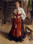 anders zorn watercolor paintings - girl in an orsa costume by anders zorn
