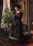 portrait of fru lisen samson nee hirsch arranging flowers at a window by anders zorn painting