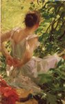woman dressing by anders zorn painting