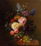 peonies roses irises lilies lilac and other flowers in a vase on a ledge laden with fruit by arnoldus bloemers painting
