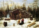 arthur fitzwilliam tait print - bringing home game winter shanty at ragged lake by arthur fitzwilliam tait