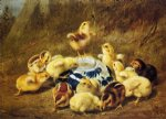 chicks and delft bowl by arthur fitzwilliam tait painting