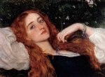 in the grass second version by arthur hughes painting