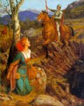 arthur hughes art - overthrowing of the rusty knight by arthur hughes