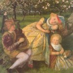 arthur hughes watercolor paintings - the king s orchard study by arthur hughes