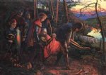 the knight of the sun reduced version by arthur hughes watercolor paintings