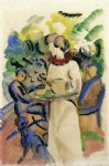 august macke famous paintings - afternoon in the garden by august macke