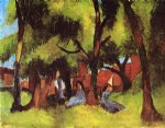 children watercolor paintings - children under trees in sun by august macke
