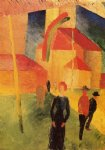 august macke church with flags painting