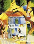 august macke courtyard of a villa at st. germain painting