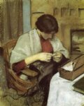 august macke famous paintings - elizabeth gerhardt sewing by august macke