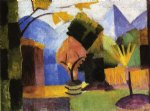 august macke artwork - garden on lake of thun by august macke
