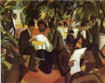 august macke famous paintings - garden restaurant by august macke