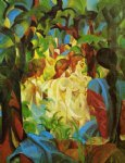 august macke girls bathing with town in background paintings