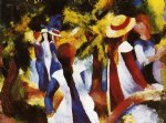 august macke famous paintings - girls under trees by august macke