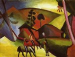 august macke indians on horses paintings