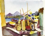 august macke famous paintings - landscape near hammamet by august macke