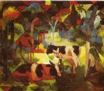august macke landscape with coows and camel paintings