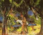 august macke artwork - man reading in a park by august macke