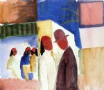 street original paintings - on the street by august macke