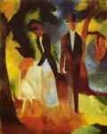 august macke famous paintings - people by the lake by august macke