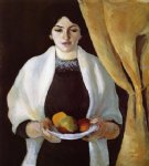 august macke famous paintings - portrait with apples the artists wife by august macke