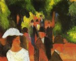 august macke famous paintings - promenade with half length of girl in white by august macke