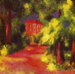 red house in a park by august macke famous paintings