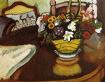 august macke still life with stag cushion and flowers painting