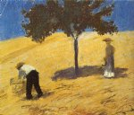 august macke tree in the corn field painting
