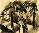 august macke two women and an man on an avenue painting