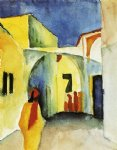 august macke view of an alley paintings