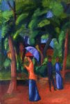 august macke walking in the park painting