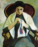 august macke woman embroidering in an armchair portrait of the artist s wife painting
