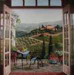 balcony view of the villa by barbara felisky acrylic paintings