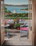balcony with a bay view by barbara felisky acrylic paintings
