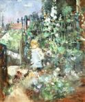 berthe morisot acrylic paintings - child among staked roses by berthe morisot