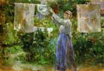 peasant hanging out the washing by berthe morisot painting